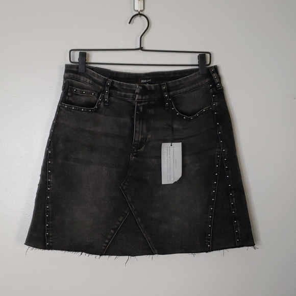NWT Dear John Black Denim Mini Skirt